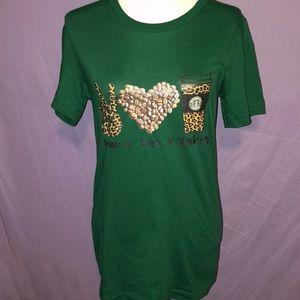 NWOT- Starbucks print graphic T-shirt boho peace